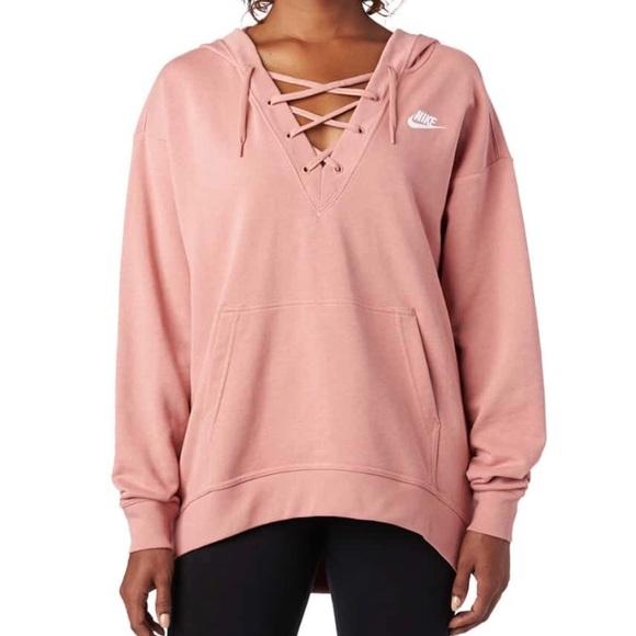 nike pink lace up hoodie